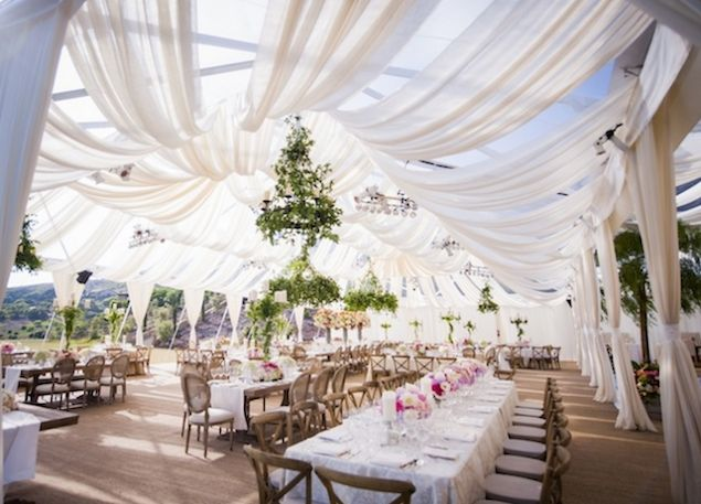 Revelry Event Designers for La Fete Weddings | Santa Barbara Wedding | Fabric Draping | Tent