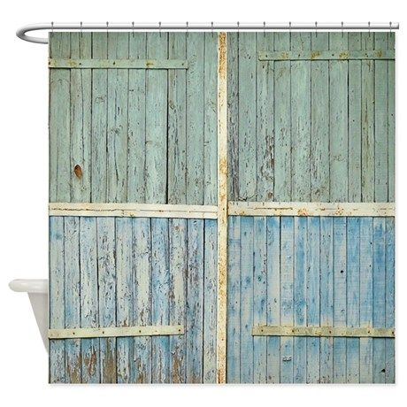 Rustic Old Wood Doors Shower Curtain
