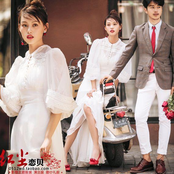 위치 시티 투어 퍼프 거리 패션 사진 촬영 웨딩 커플 스튜디오 테마 의류 귀여운 드레스 샷
