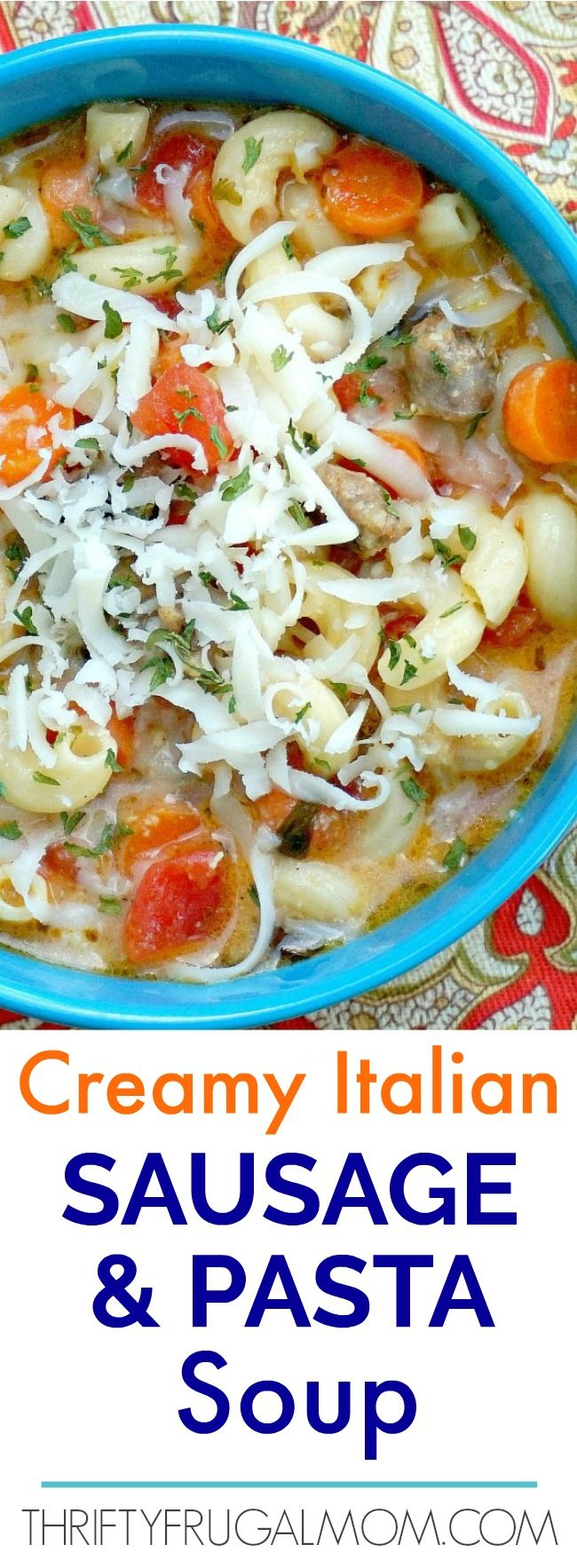 This Creamy Italian Sausage and Pasta Soup is absolutely amazing!  It's loaded with flavor and so hearty and delicious.  The perfect family friendly meal!   via @FrugalMomL