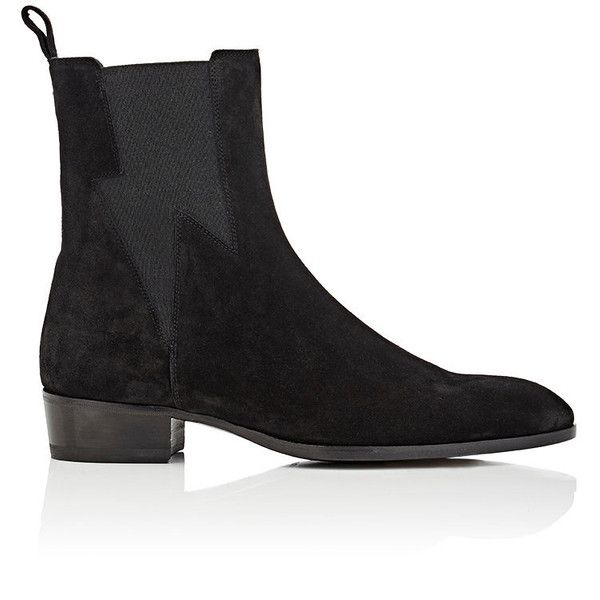 Barbanera Men's Starman Suede Chelsea Boots ($750) ❤ liked on Polyvore featuring men's fashion, men's shoes, men's boots, black, mens black slip on boots, mens black suede boots, mens slip on boots, mens black slip on shoes and mens slip on shoes