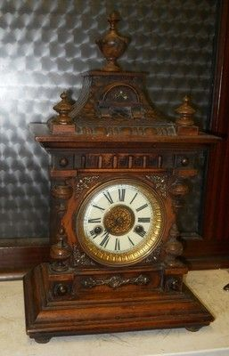 hac walnut cased bracket clock for restoreation circa 1900s hac walnut cased bracket clock,features a 2 train striking movement,strikeing the hours and halves on a steel coiled gong,clock is in workin