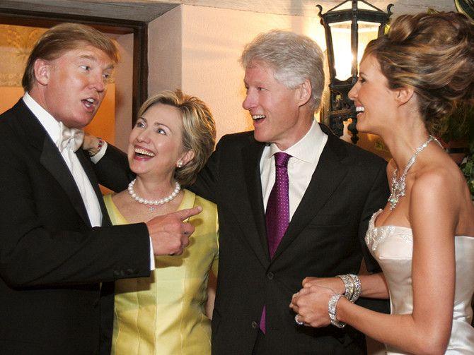WAT. Hillary Clinton, Donald Trump, Bill Clinton, Melania Trump at the Trump's wedding in 2005