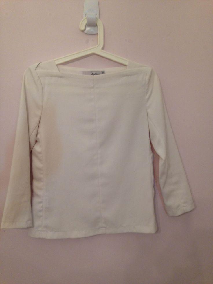 White minimalistic mid sleeve top