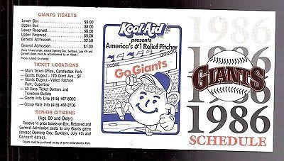 1986 San Francisco Giants Kool-Aid Unfolded Pocket Game Schedule
