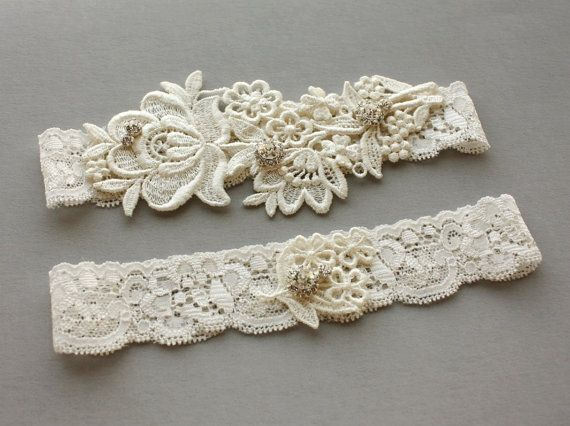 "Ivory Lace Bridal Garter SET with Crystals - Wedding Garter (also available in white) with Toss Garter - ""Flora"""
