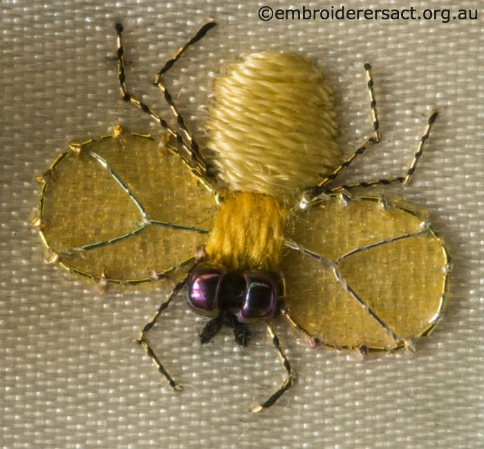 Yellow Fly from Jane Nicholas Mirror 2 stitched by Lorna Loveland