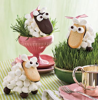 easter sheep #sheep #cookie #easter #treat, #dessert #marshmallow #craft #fun #candy #milano cookie: Ideas, Black And White, Food, Black White, Easter Baskets, Shaun The Sheep, Milano Cookies, Marshmallows, Easter Treats