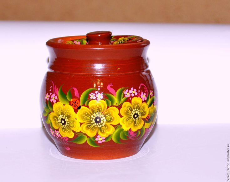 Купить боченок для меда - коричневый, цветочный, Керамика, роспись, мед, посуда ручной работы, подарок