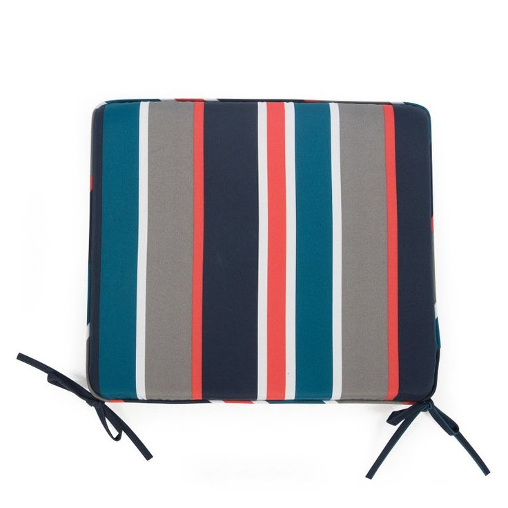 Coral Coast Classic 19 x 17 in. Outdoor Furniture Seat Pad Coral Sunrise Stripe - M025-PC136-CORAL SUNRISE STRIPE