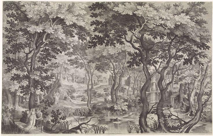 Nicolaes de Bruyn | Wandelaars in boslandschap, Nicolaes de Bruyn, 1602 | In een bosachtig landschap met boerenhuizen op het tweede plan lopen enkele elegante paren te wandelen en zit een liefdespaar op de grond onder de bomen. Links op de voorgrond helpt een heer een dame een houten bruggetje over. De dame houdt een waaier in de hand.
