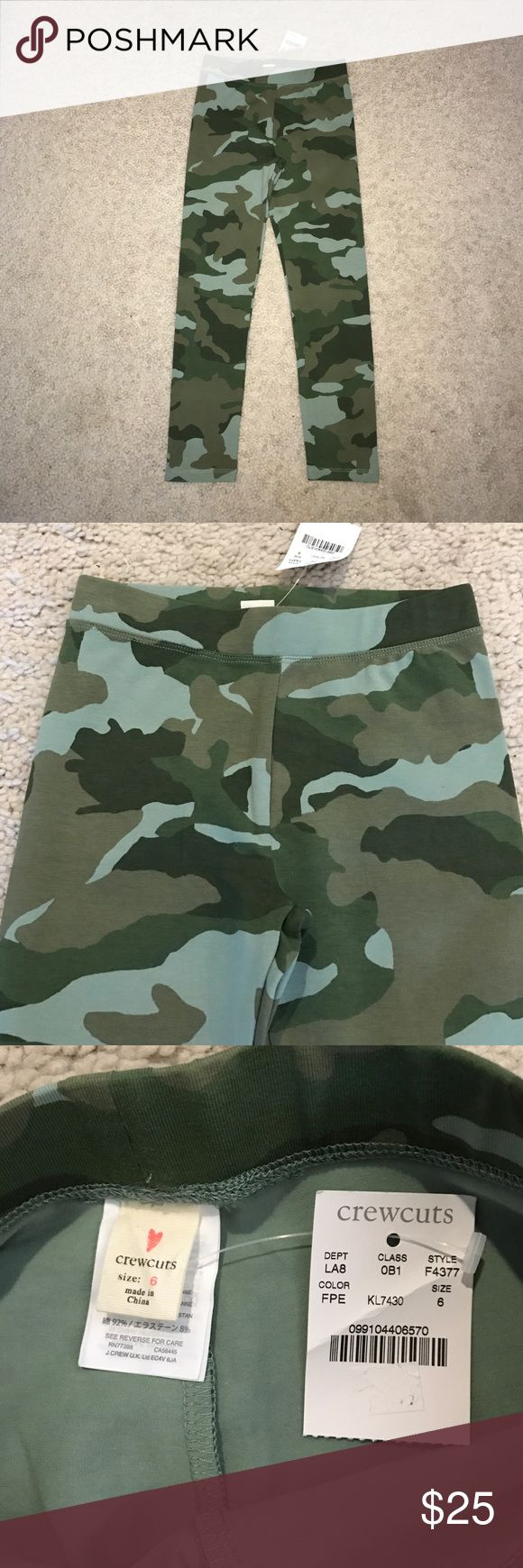 J. Crew Crewcuts camo camouflage leggings pants 6 This is a pair of green camo camouflage leggings pants from the J. Crew Crewcuts children's clothing line in girls size 6. They are brand new with tags. Thanks for looking!!!! J. Crew Bottoms Leggings
