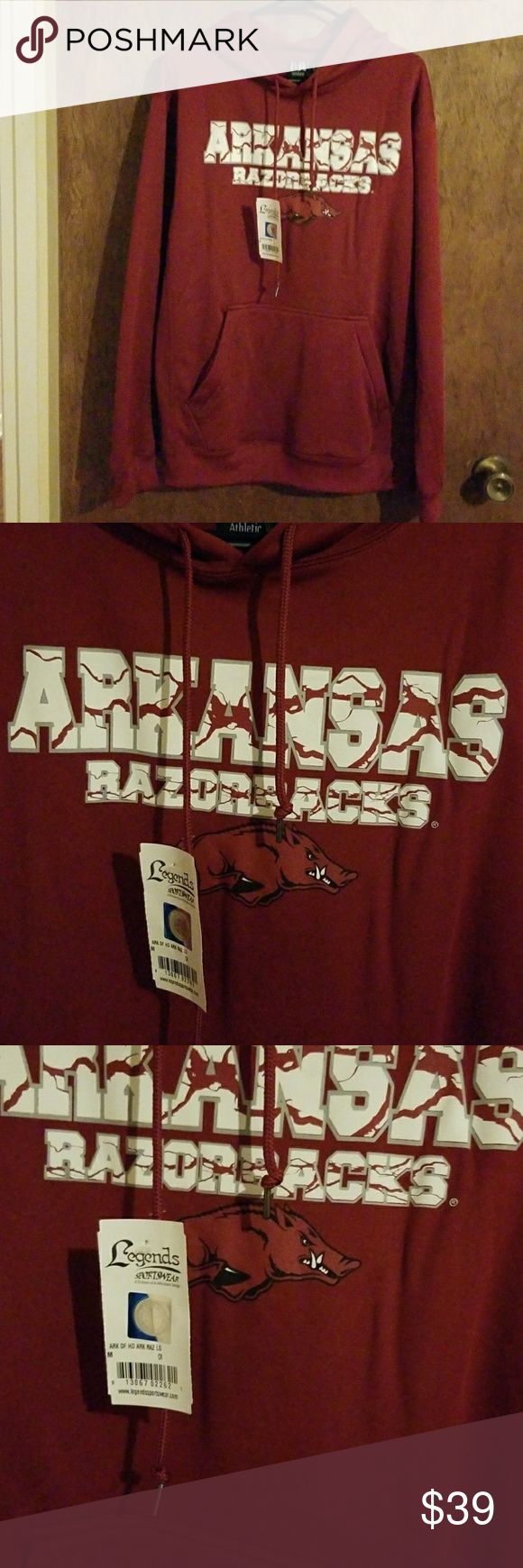 Men's Arkansas Razorback Hoodie Officially  Licensed  Collegiate  Products Size Medium.  Not a true red color but a wine red color. Smoke free home. Legends Sportswear Shirts Sweatshirts & Hoodies