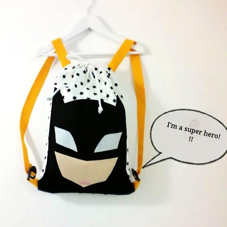 Handmade backpack with super hero Χειροποίητο νηπιακό παιδικό σακίδιο πλάτης : Σουπερ ήρωας 1, παιδικη τσαντα για αγόρια