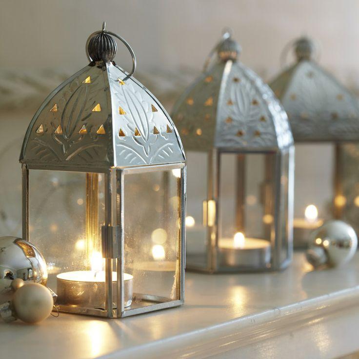 Silver Lantern Tea Light Holders By Dobbies Christmas