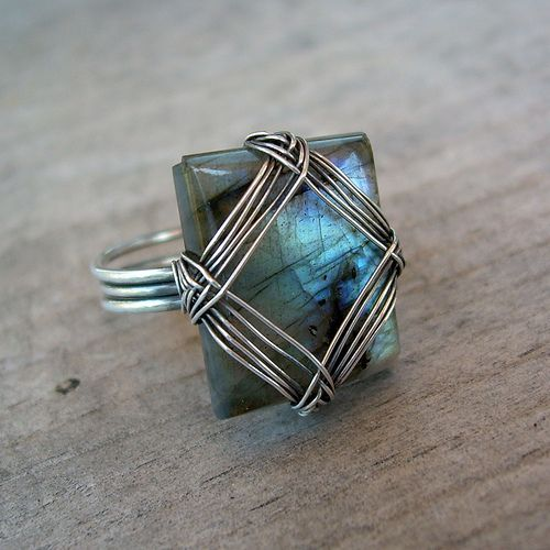 Wire wrapped labradorite ring by Mcfarland Designs