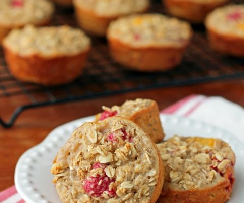 Raspberry Peach Baked Oatmeal Singles - 3 sp / 1/12 of recipe
