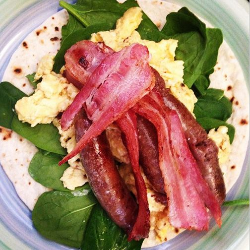 Lovely-looking brunch idea from Instagrammer @delishkatfitness made with Gerry's Go Low Carb Wrap and scrambled eggs, bacon, sausages and spinach - tasty & #LowCarb. Thanks for sharing!