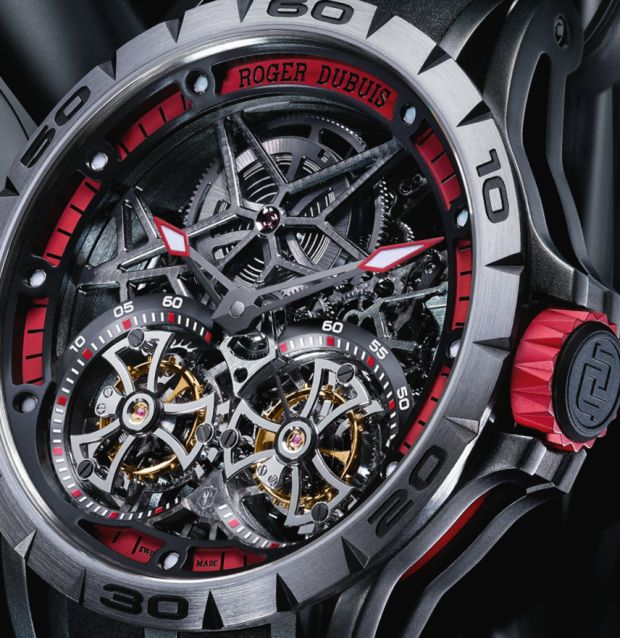 Roger Dubuis Excalibur Spider Double Flying Tourbillon dial detail