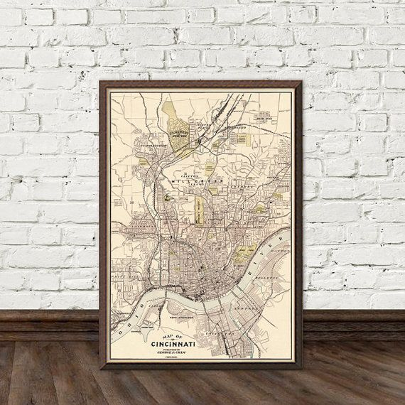 Cincinnati map  Old map of Cincinnati  fine by AncientShades
