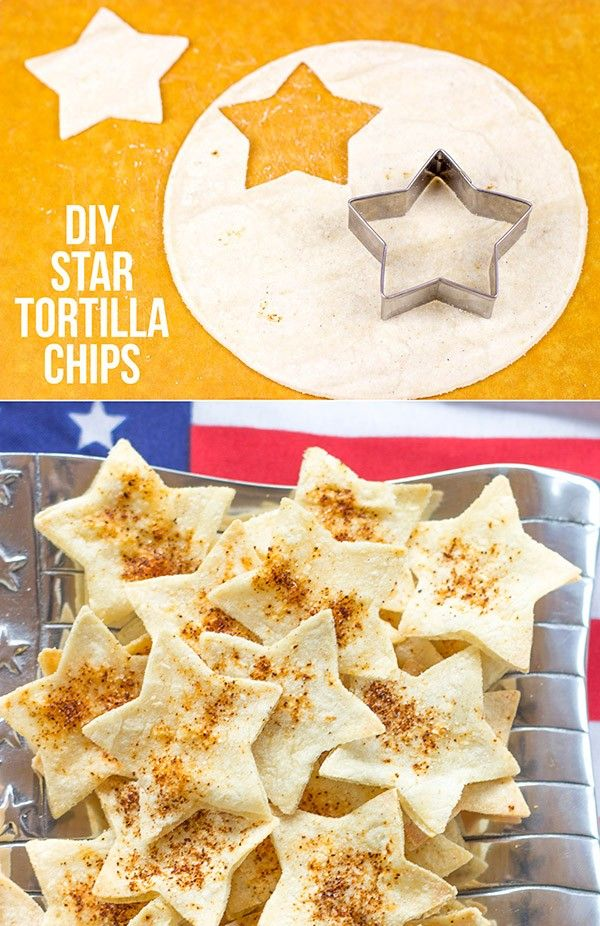 Serve these star-shaped Seasoned Tortilla Chips with homemade salsa for a delicious 4th of July snack! via @spicedblog