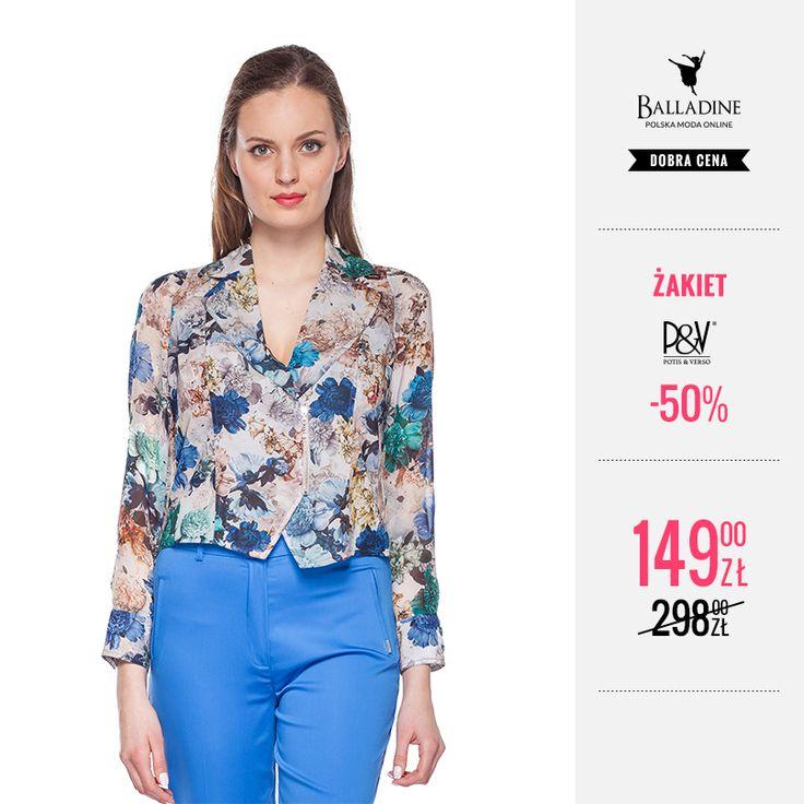 Krótki żakiet w kwiatowe wzory Potis & Verso to idealny dodatek do letnich stylizacji. Będzie się świetnie komponować zarówno z sukienkami maksi jak i kolorowymi, letnimi spodniami. Teraz kupicie go w jeszcze lepszej cenie!  >> http://goo.gl/lGRrFq