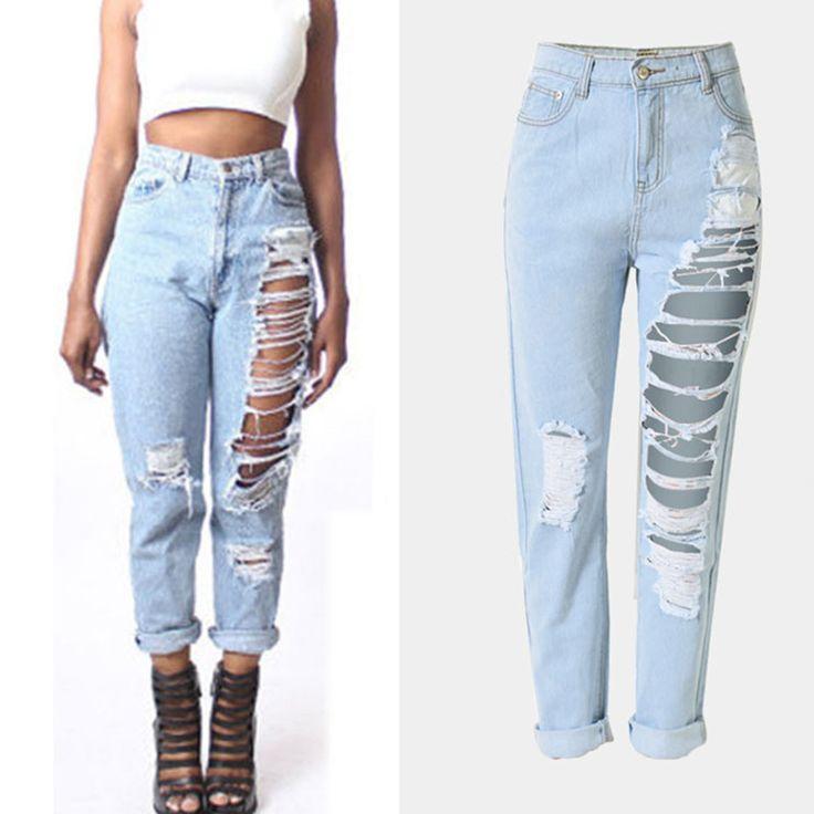 American apparel Новый дыру разорвал Джинсы Женские Высокие Waistfashion синие джинсы повседневные брюки бойфренд джинсы для женщин