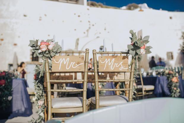 Elegant peony wedding in Santorini  Tie the knot in Santorini-wedding chairs