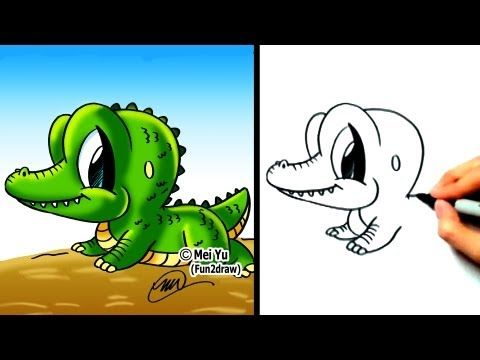 """How to draw a cartoon alligator"" - ""How to draw an alligator"" - ""How to draw a crocodile"" - ""How to animals"" step by step! New Fun2draw videos EVERY WEEK at: http://www.youtube.com/fun2draw    Watch these AWESOME Fun2draw playlists:    How to Draw Dinosaurs & Prehistoric Creatures  http://www.youtube.com/playlist?list=PLA62806F9FFB86C69    How to Draw..."