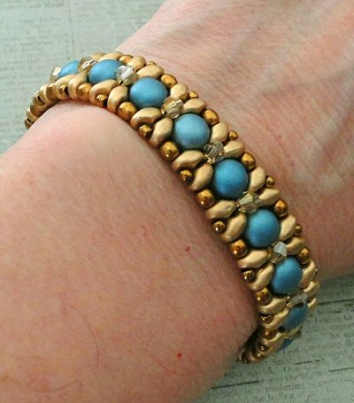 "DEMOISELLE BRACELET   11/0 seed beads Toho ""Antique Bronze"" (223)  8/0 seed beads Toho ""Antique Bronze"" (223)  6mm 2-hole cabochons ""Alab..."