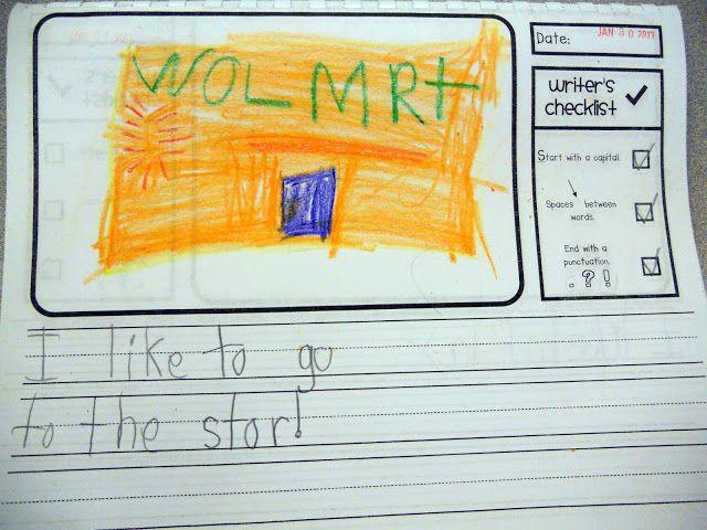 FREEBIE!  Kindergarten writing paper with check list!