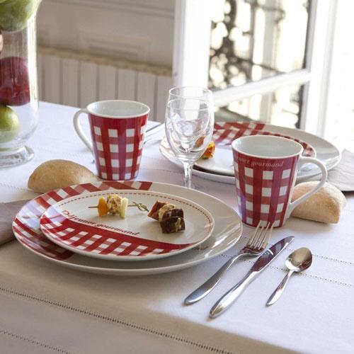 Assiette en porcelaine (par 4) Vichy rouge