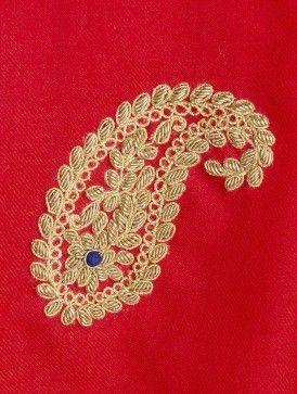 Red Cashmere Wool Zardozi and Dori Work Hand Embellished Stole
