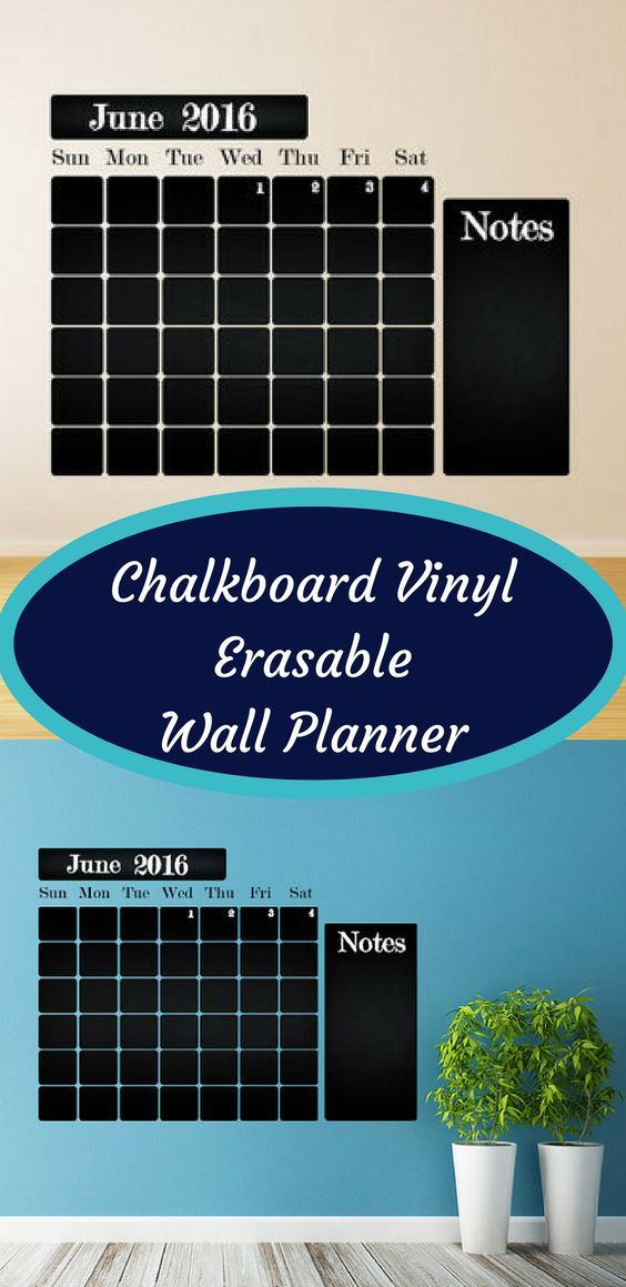 Chalkboard Vinyl Erasable Planner | Wall Calendar | Dry Erase Calendar | Dry Erase Planner | Vinyl Decal | Office Mural #ad #planner #calendar #chalkboard #vinyl #organize
