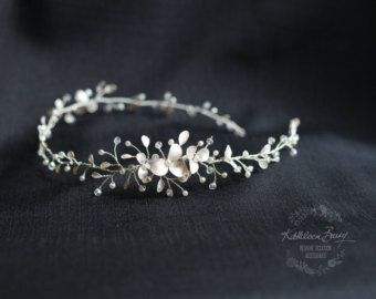 Rose gold flower wedding bridal hair by KathleenBarryJewelry