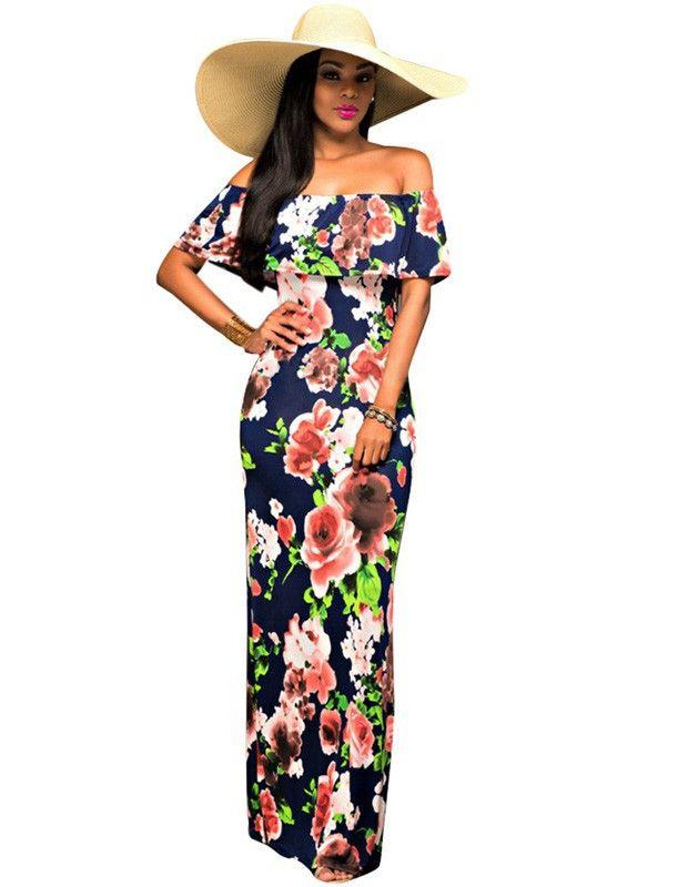 Blue Off Shoulder Bardot Floral Print Summer Vacation Maxi Dress