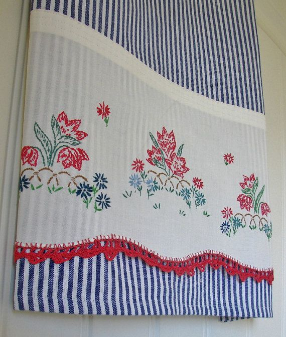 Recycled Vintage Pillowcase to Upcycled Tea Towel - Patriotic Garden Party - Homespun Home Decor