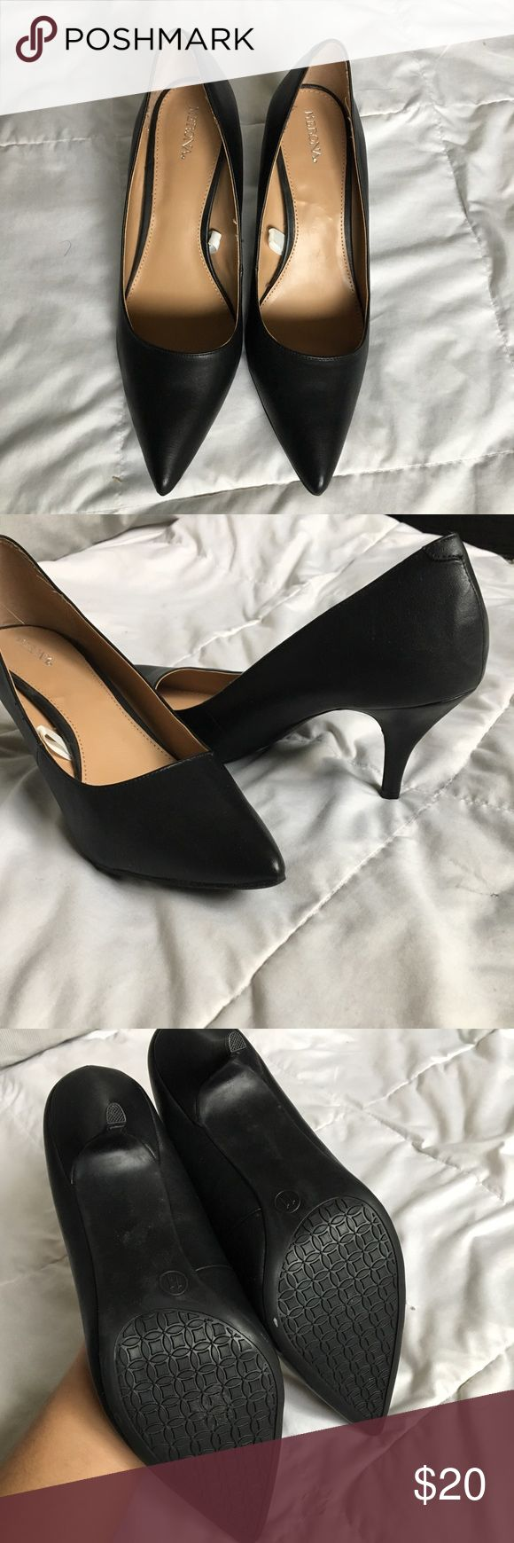 NYE SALE Merona Pointed Toe Pumps Merona Pointed Toe Pumps. These heels are in perfect condition, never worn. The heel is about 3 inches tall so they are very Work appropriate. these are perfect to wear to the office or to a lunch meeting.   Bundle and Save!!!  Offers Welcome  #Merona #pointedtoe #heels #kitten #3inch #office #black #business Merona Shoes Heels