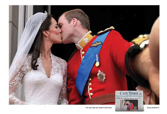 Who knew he had his camera with him... South African paper Cape Times retouches famous pics for ad campaign. Via Creative Review - Great 'selfies' in history