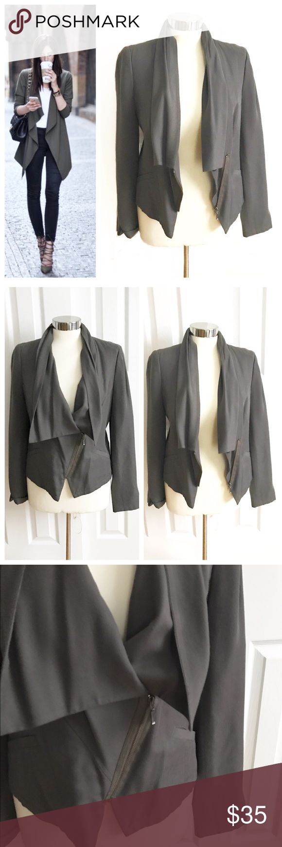 Halogen Gray Olive Green Blazer Jacket Causal blazer jacket with relaxed collar and lapels. Partial zip up with inside snap. The color is a grayish olive green. Some slight pilling starting under armpit. Halogen brand from Nordstrom size 10. Great for work or wear more casually with jeans! First photo on left not actual item just showing for styling inspiration! Halogen Jackets & Coats
