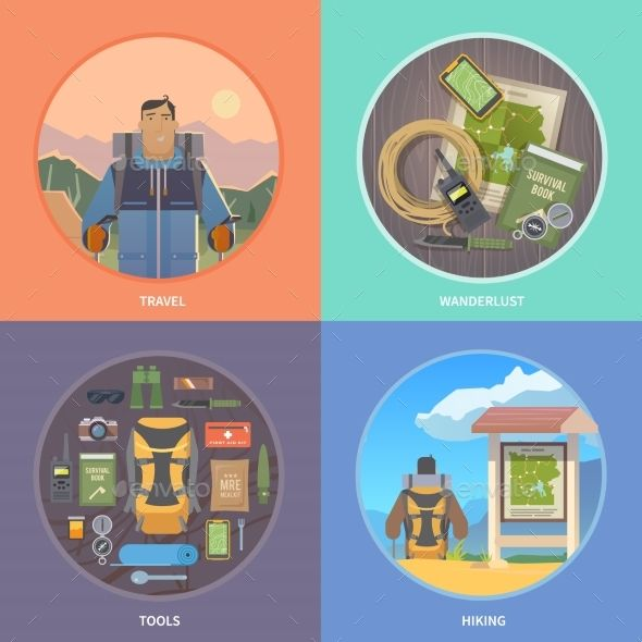 Flat Vector Hiking Web Illustrations. by mikalaimanyshau Set of flat vector illustrations on the theme of Climbing, Trekking, Hiking, Walking. Sports, outdoor recreation, adventures in na