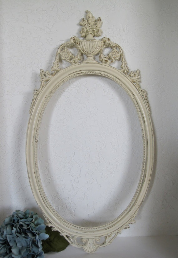 Baroque mirror ivory white french style wall decor 1960s for Baroque oval wall mirror