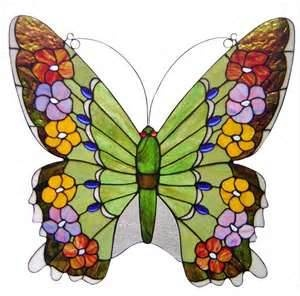 Earthy Green Oversized Stained Glass Butterfly Panel    www.tiffanyhomedecor.com
