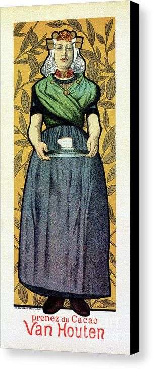 Art Nouveau Canvas Print featuring the drawing Van Houten Hot Cocoa by Aapshop