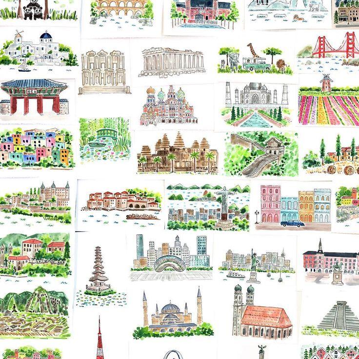 """좋아요 1,124개, 댓글 25개 - Instagram의 EVELYN HENSON(@evelyn_henson)님: """"Over a hundred 5x7 travel illustrations DONE 😅 On 11/7, select originals will be available as well…"""""""