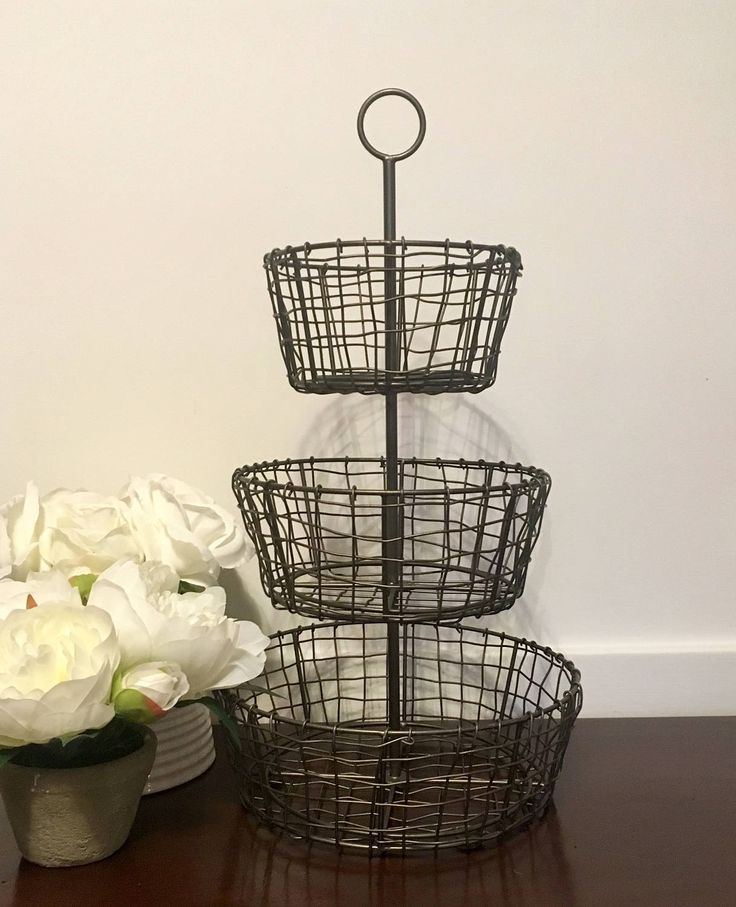 29 Ways To Turn Your Wedding Into A Secret Garden: Tiered Rustic Metal Wire Fruit Basket Farmhouse Cottage
