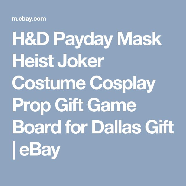 H&D Payday Mask Heist Joker Costume Cosplay Prop Gift Game Board for Dallas Gift | eBay