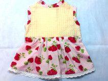 gelbes Erdbeer Sommerkleid - Puppenkleidung - Puppensachen