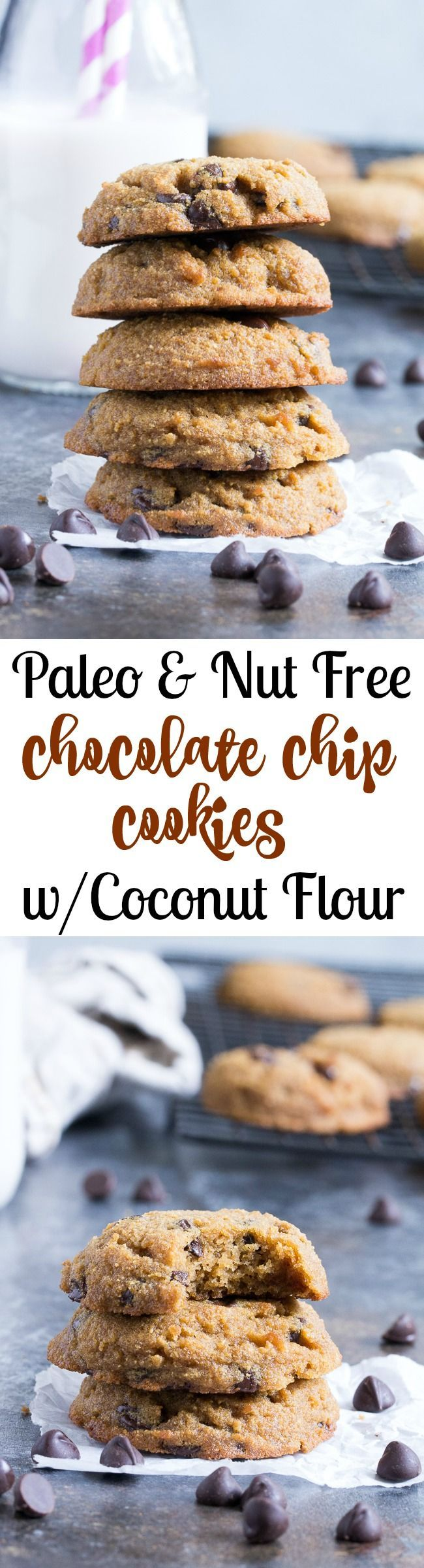 These simple coconut flour chocolate chip cookies are soft, cake-like and packed with chocolate!  They're grain free, nut free, dairy free, easy to make and irresistible!   Gluten-free, Paleo friendly and kid approved.