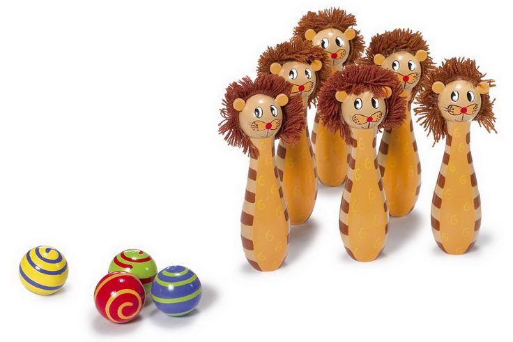 """Kegelspiel """"Leo"""". Bunte Kegel mit Gesicht bringen Schwung ins Kinderzimmer. Holzspielzeug, Maße: ca. 15 cm x 5 cm"""